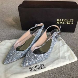 Badgley Mischka Stephanie II Glitter Slingbacks 6